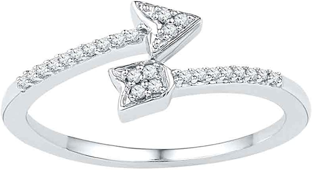 10kt White Gold Womens Round Philadelphia Mall Diamond 1 El Paso Mall Arrow Bisected Band Ring