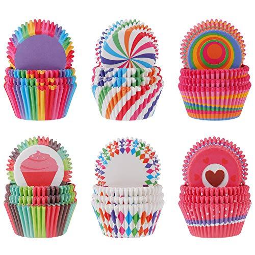 Xinzistar 600 Stück Muffinförmchen Papier Muffinform Cupcake Formen Backförmchen Regenbogen Cupcake Wrapper Papierförmchen Muffin Förmchen Papier Fällen Liners