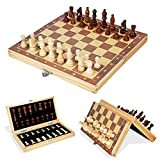 HYLX Ajedrez de madera magnético juego de ajedrez plegable portátil tablero de ajedrez plegable juego de ajedrez internacional juego de ajedrez para fiestas actividades familiares
