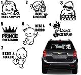 MACOES Pegatina 'Baby on Board', bebé a bordo, accesorio para ventanilla de coche, Adhesivo Vinilo Infantil, niño, niña princesa a bordo