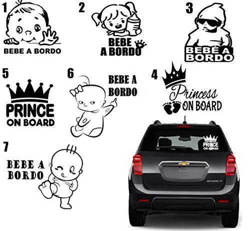 MACOES Pegatina \'Baby on Board\', bebé a bordo, accesorio para ventanilla de coche, Adhesivo Vinilo Infantil, niño, niña princesa a bordo