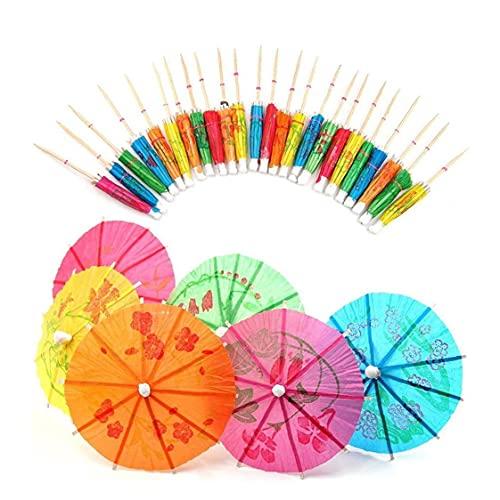 Hainice 50 PC mezcladas Papel Paraguas Sombrillas para la Fiesta Tropical de Las Bebidas, Las Etiquetas de Frutas, Vino de los Accesorios Label-