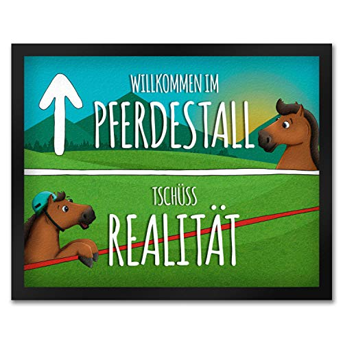 trendaffe - Pferde Fußmatte mit Spruch: Willkommen im Pferdestall Reithelm Reithalle Pferd