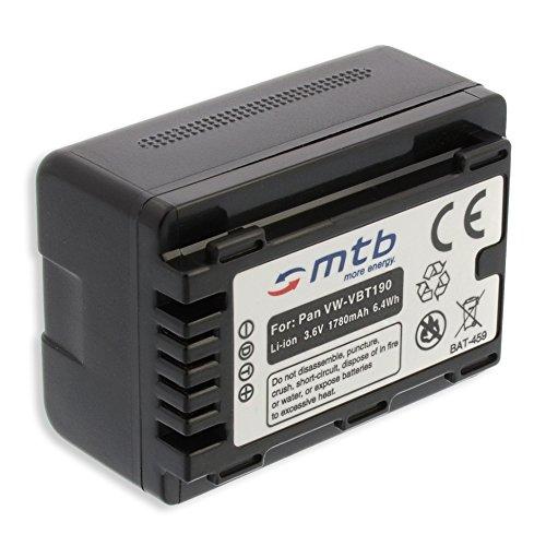 Batería VW-VBT190 para Panasonic HC-V130, V160, 270, 380, V727. v. Lista! [3.6V - 1780mAh - Li-Ion - Infochip (con indicación del Tiempo restante de Toma!)