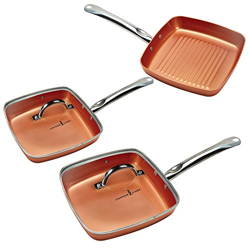 Copper Chef Non-Stick Square Fry Pan 5-Piece Set, 8 Inch Griddle Pan, 9.5 Inch Grill Pan, 11 Inch Griddle Pan, 9.5 Inch Lid, 11 Inch Lid