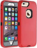 Greatcase iPhone 7 Case iPhone 8 Case Shockproof Heavy Duty Built-in Screen Protector Durable 3 in 1 Cover Droproof Scratch-Resistant Protective Cases for iPhone 8/7 4.7 inch Red/Black