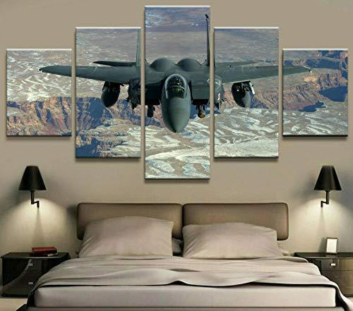 GLNB Cuadro En Lienzo Imagen Impresión Pintura Decoración Aviones de Combate de la Fuerza Aérea Militar Cuadro Moderno En Lienzo 5 Piezas XXL 150X80 Cm Enmarcado Murales Pared Hogar Decor