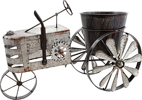 Brubaker Vintage Traktor Windspiel zum Bepflanzen aus Metall - 23 x 29,5 x 43 cm - mit 2 Windrädern und Pflanztopf - wetterfest - Silber