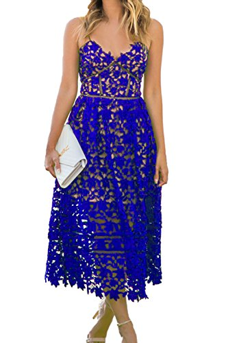AlvaQ Womens Summer Sexy V Neck Lace Hollow Beach Evening Wedding Midi Dress Plus Size Formal Blue Large