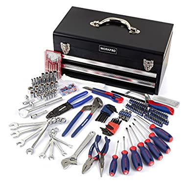 WORKPRO 229-Piece Mechanics Tool Kit with Two Drawer Metal Box, Basic Daily Use Tool Set