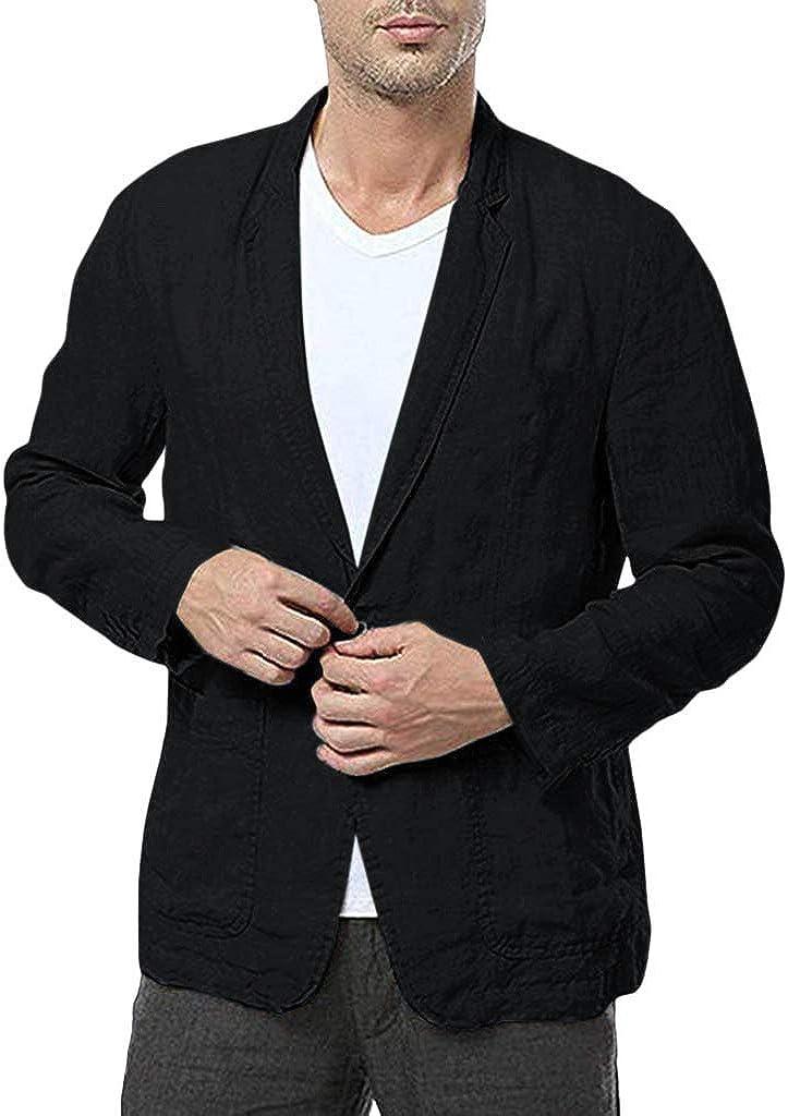 WUAI-Men Casual Suit Jackets Lightweight Linen Tailored Blazer One Button Business Sport Coat Outwear Tops