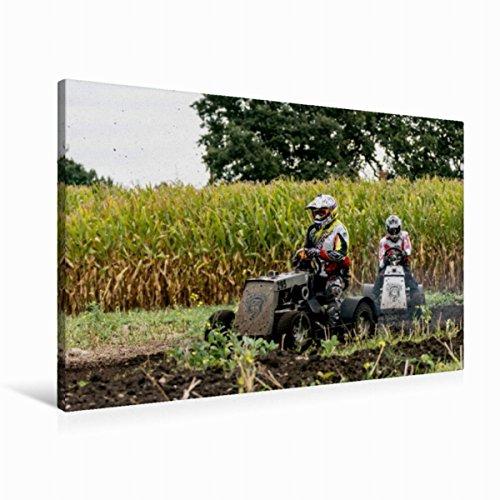 Premium Textil-Leinwand 90 x 60 cm Quer-Format Rasenmäherrennen | Wandbild, HD-Bild auf Keilrahmen, Fertigbild auf hochwertigem Vlies, Leinwanddruck von Sonja Teßen