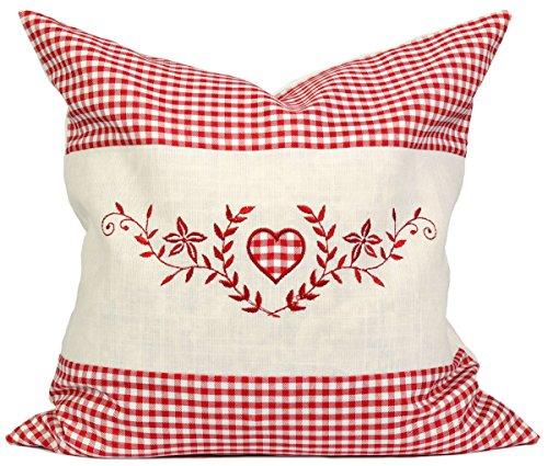 Dekobox Kissenbezug Set - 40x40 cm - Außenhülle rot kariert mit Herz inkl. Innenkissen zum Befüllen - ideal für z.B. Zirbenkissen, Kernkissen, Kräuterkissen