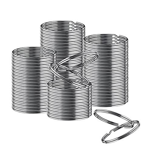 28 mm (1,1 tum) nickelpläterad delad nyckelring ringkontakt nyckelring, silver stål runda kanter cirkulär nyckelring ring klämmor för bil hem nycklar organisation, konst och hantverk, nyckelband - 50-pack