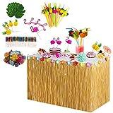 Feicuan Decoración de Fiesta Hawaiana Luau,9ft Falda de Mesa de Hierba con Hojas de Palma Flores...
