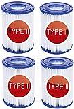 Cartucho de filtro de repuesto para filtro de piscina, para Bestway Tipo I II III VI VII e Intex tipo A C D, cartucho de bomba para piscinas de spa (4 unidades), Tipo II