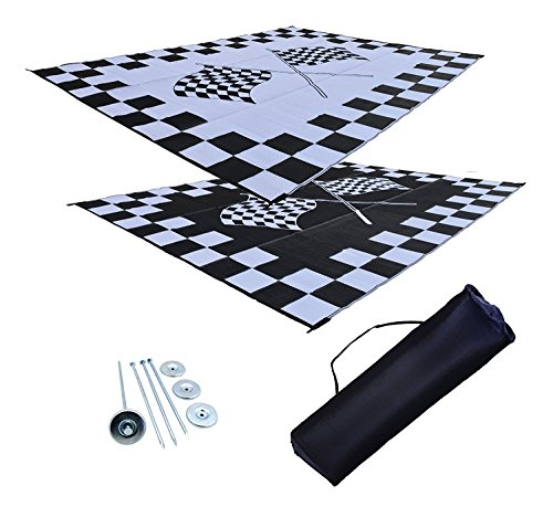 Price comparison product image Professional EZ Travel Collection Reversible RV Outdoor Rug for Backyards,  Beaches,  Camping Grounds,  Patios,  and More,  Storage Bag and Mat Stakes Included