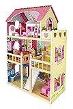 Tiktaktoo XL Maison de Poupée en Bois, 90 cm Type Haut, avec Meubles Complet,sans Poupées,Maison de Poupée pour Poupées Jusqu'à Maximum 29 CM