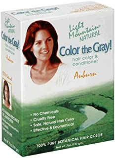 Light Mountain Natural Color The Gray! Hair Color & Conditioner, Auburn, 7 oz (197 g) (Pack of 2)