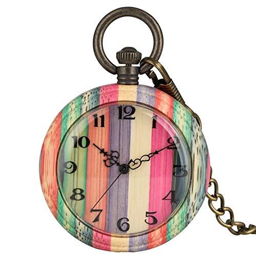 WM Unique Color de madera de cuarzo reloj de bolsillo de la manera del color del caramelo de concordancia de color madera de la cadena caja redonda reloj analógico regalo Reloj de bolsillo-8.24
