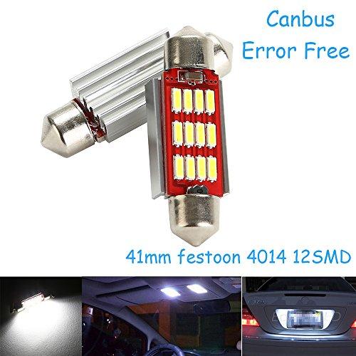 CICMOD 2 x 800 Lumen CANBUS Ampoules Intérieur 12 * 4014 SMD LED Eclairage Intérieur 41mm Xenon Blanc 6000K