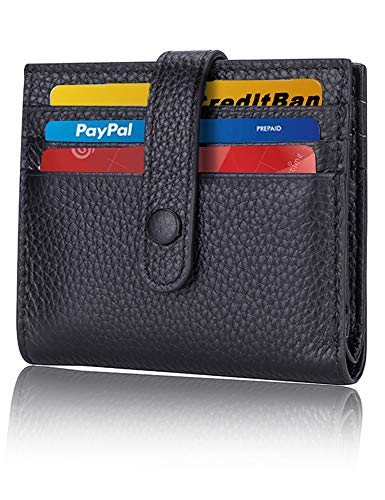 Leather Credit Card Wallet for Women RFID Blocking Slim Wallet Card Holder Wallets with Snap Minimalist Front Pocket for Women Black Pebble Leather
