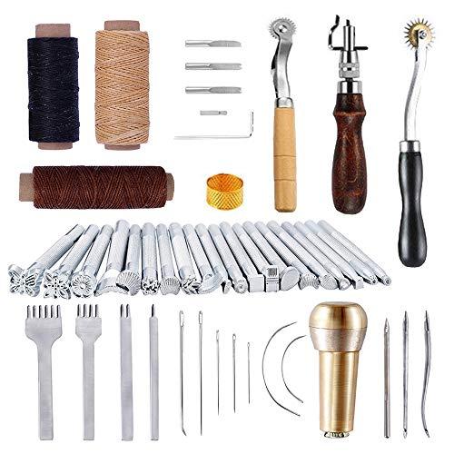 JasCherry 48 Piezas Kits de Herramientas para Coser Cuero a Mano de Costura - Practico DIY Set de Coser de Artesanía Cuero #2
