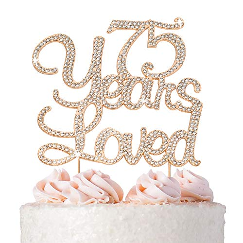 75 Years Loved Rose Gold Cake Topper