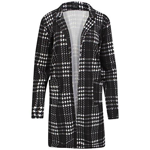 Miss Sixty Damen Uni schwarz Lange Duster Coat Blazer Damen öffnen Cardi Slip auf Jacke 8–14 Gr. 10, Schwarz kariert