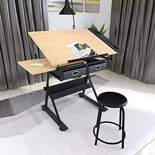Height Adjustable Drafting/Draft/Drawing Table Desk,Artist Desk Tilted Tabletop Sketching Work Station with 2 Storage Drawers and Stool for Home Office