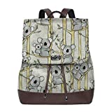 Flyup Mochila de cuero PU para mujer Koala Mother And Baby Women Backpack Leather Backpack For Women Ladies Shoulder Bags Schoolbag Casual Daypack Backpack