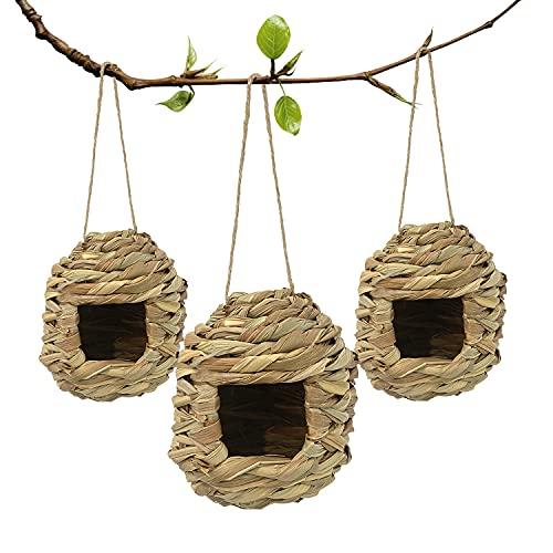 Hummingbird Houses Outside,Hand Woven Bird Houses Outdoors Hanging, Set of...