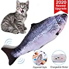 VavoPaw Giocattolo Elettrico a Forma di Pesce con Catnip per Gatto, Simulazione Peluche di Pesce, Giocattolo Interattivo da Masticare per Gatti e Giochi Elettrici per Gatti - Salmone