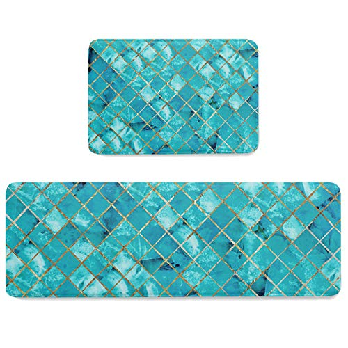 Turquoise Marble Pattern with Golden Metal Line 2 Pieces Kitchen Mat Set Indoor Doormats with Rubber Backing, Green Stone Absorbent Memory Foam Runner Rugs Anti Fatigue Standing Mats for Doorway