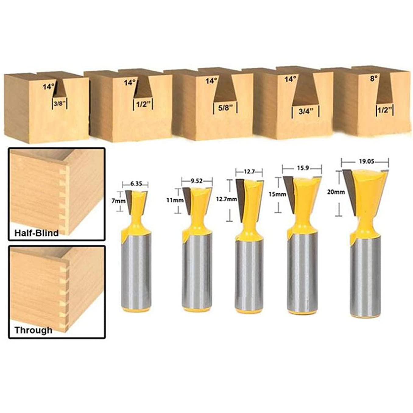 LETB Dovetail Router Bit Set 1/2 Inch Shank 5 PCS, Carbide Dovetail Bits Cutting Diameter 1/4