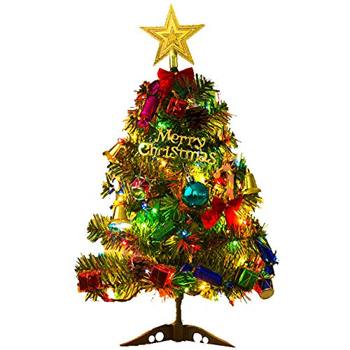 acetek クリスマスツリー 卓上 50cm ミニツリー クリスマス飾り LEDイルミネーション 20点セット オーナメ...