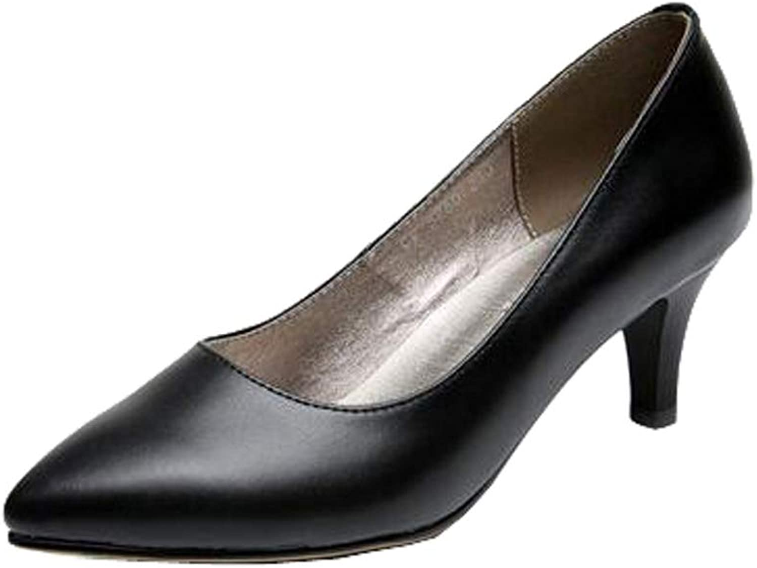 Dethan Womens Genuine Leather Middle Thin Heel Black Work shoes Pumps