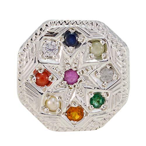 joyas plata buenas piedras preciosas forma redonda multi piedra facetada multi piedra anillo - plata esterlina multi color multi piedra anillo - nacimiento de junio géminis