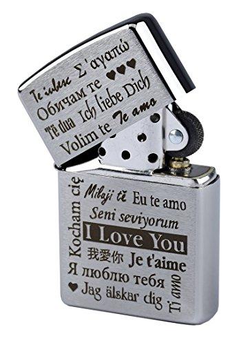 """Mechero Zippo con grabado \""""I love you\""""/\""""Te amo\"""" en varios idiomas en cromado cepillado, de gasolina"""