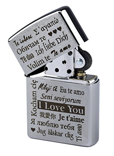 "Zippo con incisione ""I Love You"" in più lingue su accendino a benzina cromato spazzolato"