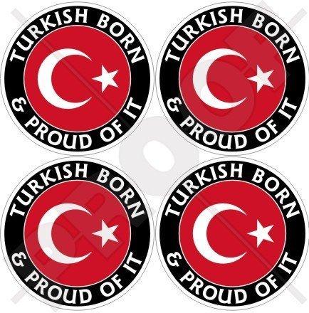 TÜRKEI Türkische Geboren und Stolz 50mm Auto & Motorrad Aufkleber, x4 Vinyl Sticker