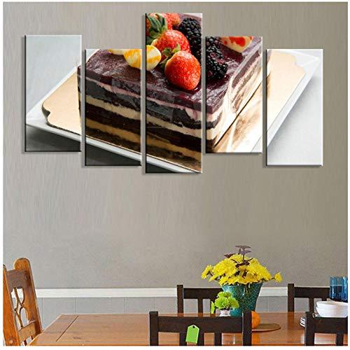 Canvas Schilderij Moderne 5 Stuk Chocolade Cake Fruit Foto's Gedrukt Home Decoratie Poster voor Woonkamer Hot Sale Wall Art 30 x 40 x 60 x 80 cm.