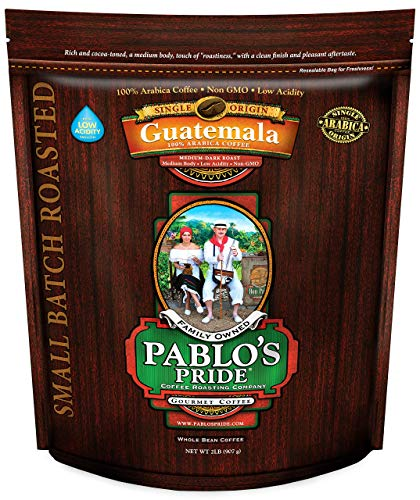 2LB Pablo's Pride Guatemala - Medium-Dark Roast - Whole Bean Arabica Coffee - Low Acidity - 2 Pound Bag