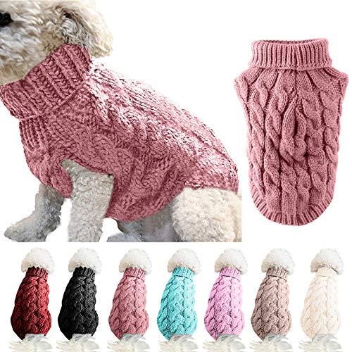 FAMKIT Abrigo de suéter de Punto con Cuello Alto para Perros y Mascotas, Jersey de Punto cálido (Seleccione un tamaño más Grande de Acuerdo con la Tabla de Tallas Antes de Comprar)