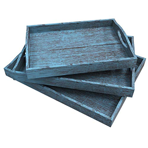 Rustic Wooden Serving Trays with Handle - Set of 3 - Large Medium and Small - Nesting Multipurpose Trays - for Breakfast Coffee TableButler More - Light Sturdy Paulownia Wood - Rustic Blue