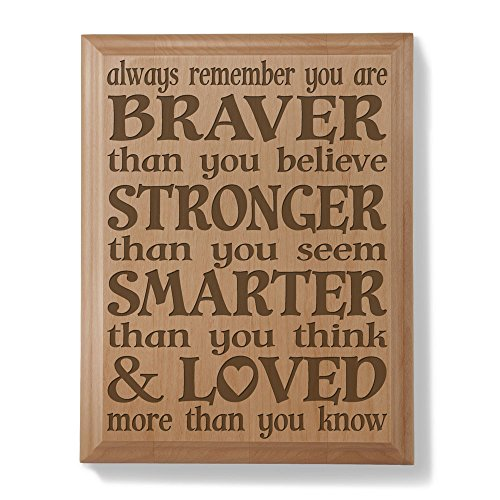 KATE POSH - Always Remember You are Braver Than You Believe, Stronger Than You Seem, Smarter Than You Think & Loved More Than You Know - Engraved Natural Wooden Plaque - Christopher Robin to Pooh