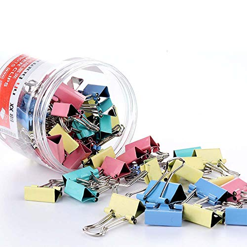 60 Pcs Colours Metal Paper Binder Clips Clamps,Bulldog Clips Clamps Metal Mini Swallowtail Clip Paper Clips File Paper Money Clamps for Office Home Kitchen School Shops,15mm
