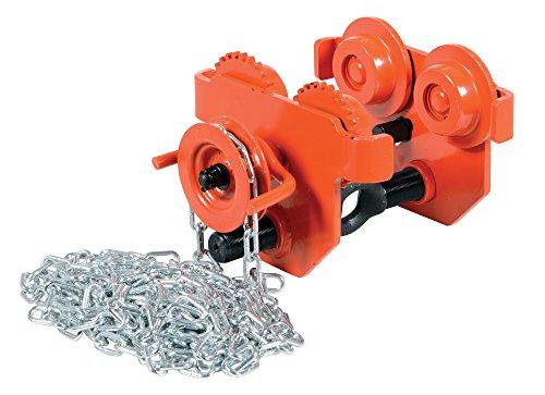 Vestil E-MT-2-C Steel Low Profile Eye Manual Chain Geared Trolley, 2,000-lb. Capacity, 2-1/2 - 5-1/2