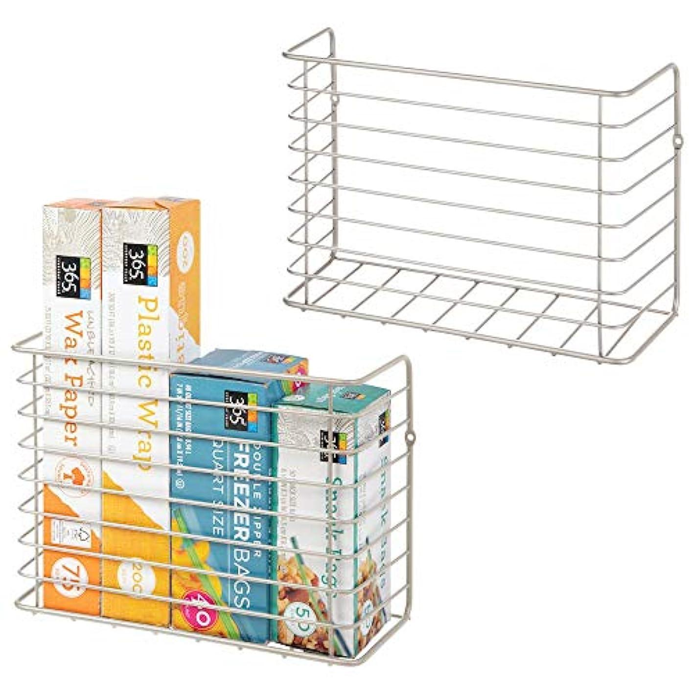 mDesign Farmhouse Metal Wire Wall & Cabinet Door Mount Kitchen Storage Organizer Basket Rack - Mount to Walls and Cabinet Doors in Kitchen, Pantry, and Under Sink - 2 Pack - Satin