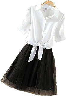 KimBerley 2点セット シャツ チュールスカート インナー ワンピース 前結び ブラウス カジュアル レディース キャバ嬢 セクシー ファッション